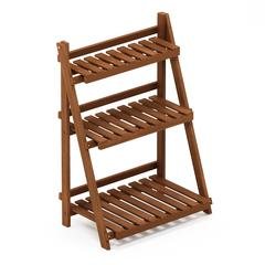 Tioman Hardwood 3-Tier Flower Rack in Teak Oil