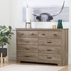Versa 8-Drawer Double Dresser, Weathered Oak