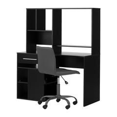 South Shore Annexe Pure Black Desk and Gray Office Chair with Quilted Seat