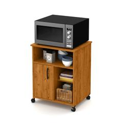 Axess Microwave Cart with Storage on Wheels, Country Pine