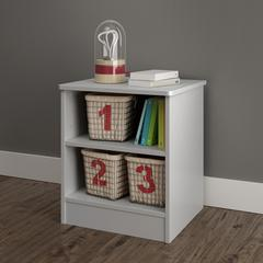 Libra Nightstand with Storage, Soft Gray
