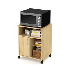 Axess Microwave Cart with Storage on Wheels, Natural Maple