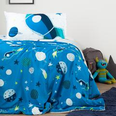 DreamIt Blue and Gray Cosmic Reversible Twin Comforter and Pillowcase