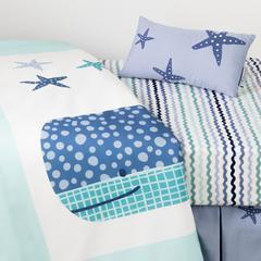 DreamIt Blue Little Whale 3-Piece Baby Crib Bed Set and Pillow
