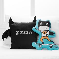 DreamIt Black and Turquoise Superheroes Throw Pillows, 2- Pack