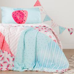 DreamIt Pink and Turquoise Watermelons and Dots Reversible Twin Comforter and Pillowcase, with Pennant Banner