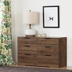 Holland 6-Drawer Double Dresser, Natural Walnut