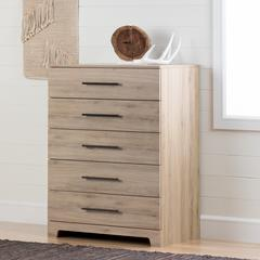 Primo 5-Drawer Chest, Rustic Oak