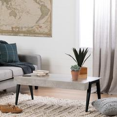 City Life Concrete Gray and Black Coffee Table