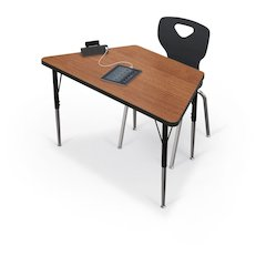 "Activity Table - 60"" Trapezoid - Amber Cherry Top Surface - Black Edgeband"
