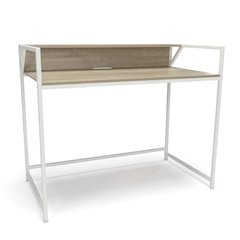 Computer Desk with Shelf, White/Natural