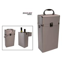 Travel-Rite Double Bottle Travel Wine Carrier in Silver Aluminium