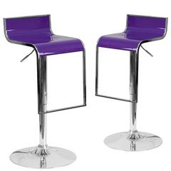 2 Pk. Contemporary Purple Plastic Adjustable Height Barstool with Chrome Drop Frame