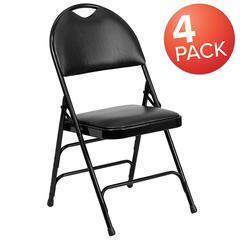 4 Pk. HERCULES Series Extra Large Ultra-Premium Triple Braced Black Vinyl Metal Folding Chair with Easy-Carry Handle