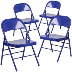 4 Pk. HERCULES COLORBURST Series Cobalt Blue Triple Braced & Double Hinged Metal Folding Chair