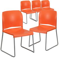 5 Pk. HERCULES Series 880 lb. Capacity Orange Full Back Contoured Stack Chair with Sled Base