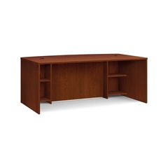 """basyx by HON BL Series Breakfront Desk Shell   Bow Front   72""""W x 42""""D x 29""""H   Medium Cherry Finish"""