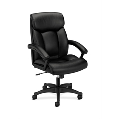 basyx by HON HVL151 Executive High-Back Chair   Center-Tilt, Tension, Lock   Fixed Arms   Black SofThread Leather