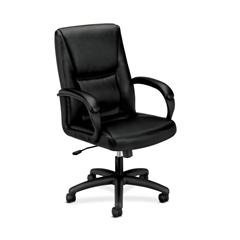 basyx by HON HVL161 Executive High-Back Chair | Center-Tilt, Tension, Lock | Fixed Arms | Black SofThread Leather