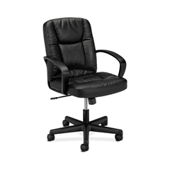 basyx by HON HVL171 Executive Mid-Back Chair   Center-Tilt, Tension, Lock   Fixed Arms   Black SofThread Leather