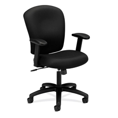 HVL220 Mid-Back Task Chair   Center-Tilt, Tension, Lock   Adjustable Arms   Black Fabric