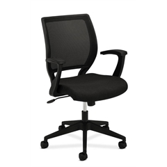 basyx by HON HVL521 Mesh Mid-Back Task Chair | Center-Tilt, Tension, Lock | Fixed Arms | Black Fabric
