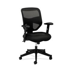 basyx by HON HVL531 Mesh High-Back Task Chair | Center-Tilt, Tension, Lock | Adjustable Arms | Black Sandwich Mesh Seat