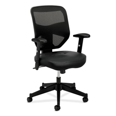basyx by HON HVL531 Mesh High-Back Task Chair | Center-Tilt, Tension, Lock | Adjustable Arms | Black SofThread Leather Seat