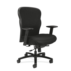 basyx by HON HVL705 Mesh Big and Tall Executive Chair | Knee-Tilt, Tension, Lock | Adjustable Arms | Black Mesh Back | Black Fabric Seat