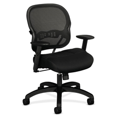 basyx by HON HVL712 Mesh Mid-Back Chair | Synchro-Tilt, Tension, Lock | Adjustable Arms | Black Mesh Back | Black Sandwich Mesh Seat