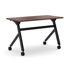 "basyx by HON Multi-Purpose Table | Flip Base | 48""W x 24""D | Chestnut Laminate | Black Finish"