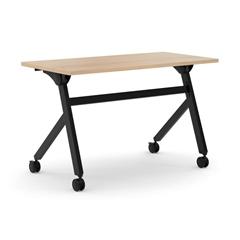 "basyx by HON Multi-Purpose Table   Flip Base   48""W x 24""D   Wheat Laminate   Black Finish"
