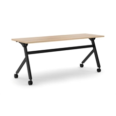 "basyx by HON Multi-Purpose Table | Flip Base | 72""W x 24""D | Wheat Laminate | Black Finish"