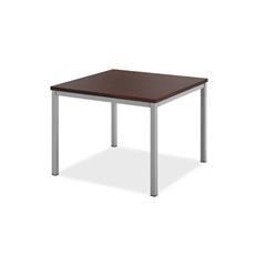 basyx by HON Metal Leg Corner Table   Chestnut Laminate   Silver Frame