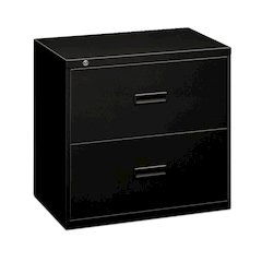 """basyx by HON Lateral File   2 Drawers   Molded Pull   36""""W x 19-1/4""""D x 28-3/8""""H   Black Finish"""
