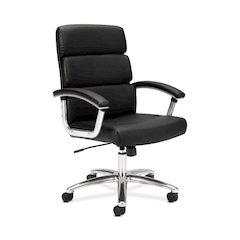 HVL103 Executive High-Back Chair | Center-Tilt | Fixed Arms | Polished Aluminum | Black SofThread Leather
