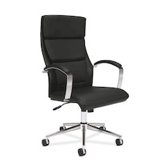 basyx by HON HVL105 Executive High-Back Chair | Center-Tilt, Tension, Lock | Polished Aluminum Base | Black SofThread Leather