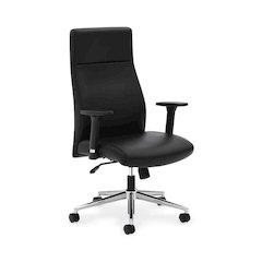 basyx by HON HVL108 Executive High-Back Chair | Synchro-Tilt, Tension, Lock | Adjustable Arms | Black SofThread Leather