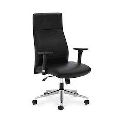 basyx by HON HVL108 Executive High-Back Chair | Synchro-Tilt, Tension, Lock | Adjustable Arms | Black SofThread Leather