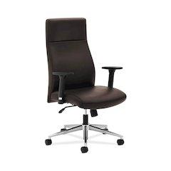 basyx by HON HVL108 High-Back Executive Chair   Synchro-Tilt   Adjustable Arms   Brown Vinyl