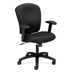 basyx by HON HVL220 Mid-Back Task Chair | Center-Tilt, Tension, Lock | Adjustable Arms | Black Fabric