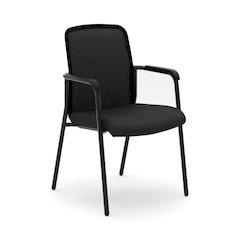basyx by HON HVL518 Mesh Back Stacking Multi-Purpose Chair | Fixed Arms | Black Fabric