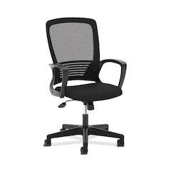 basyx by HON HVL525 Mesh High-Back Chair   Center-Tilt, Tension, Lock   Fixed Arms   Black Frame   Black Mesh