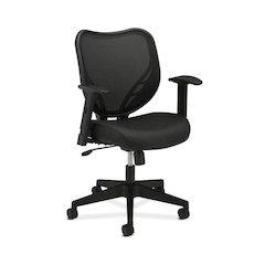 basyx by HON HVL551 Mesh Mid-Back Task Chair | Center-Tilt, Tension, Lock | Adjustable Arms | Black Fabric