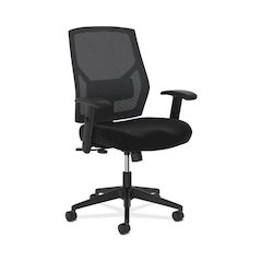 basyx by HON Crio Mid-Back Task Chair | Mesh Back | Adjustable Arms | Adjustable Lumbar | Black Fabric