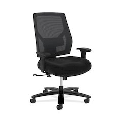 basyx by HON Crio High-Back Big And Tall Chair | Mesh Back | Adjustable Arms | Adjustable Lumbar | Black Fabric