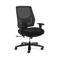 basyx by HON Crio High-Back Big And Tall Chair | Mesh Back | Adjustable Arms | Adjustable Lumbar | Black Fabric