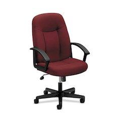 HVL601 Executive High-Back Chair | Center-Tilt | Fixed Arms | Burgundy Fabric