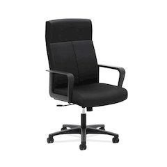 basyx by HON HVL604 High-Back Executive Chair   Center-Tilt   Fixed Arms   Black Fabric