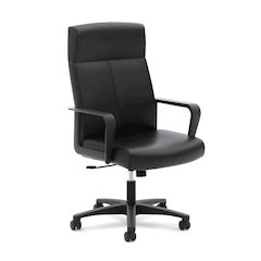 basyx by HON High-Back Executive Chair | Center-Tilt, Tension, Lock | Fixed Arms | Black SofThread Leather